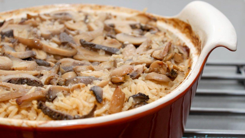 אורז בתנור עם פטריות